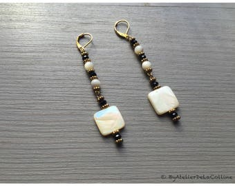 Mother of pearl earrings, Tahia collection