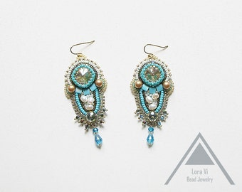Beaded turquoise earrings embroidery jewelry blue turquoise jewellery pearl crystal elegant earrings perfect gift anniversary party earrings