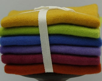Brights #1: Fat Sixteenth Six Pack of Hand-dyed Wool for Rug Hooking & Applique Quilts