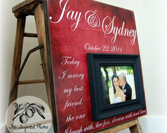 Personalized  Wedding Gift Picture Frame Custom 16x16 MARRY MY BEST Anniversary Love Father Mother Parents Quote Song Vows Guest Book Beach