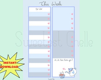 Cute Printable A5 Page - Printable To Do List - Cute Tea Time Design - This Week's To Do List - Reminder - Important List - Heart Checklist