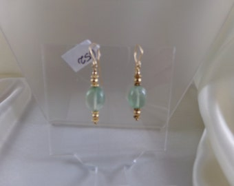Prehnite  smooth oval with vermeil daisy ornament gold filled earrings gemstone handmade item 652