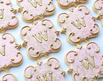 Elegant Gold Marbled Monogram Wedding Cookies - One Dozen Decorated Sugar Cookies