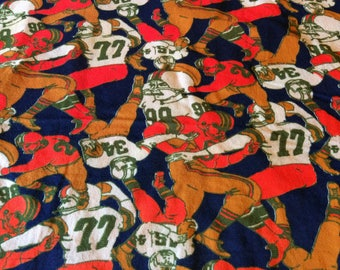 Vintage Football Players  Fabric Remnant
