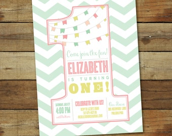 First birthday party invitation, number one 1st birthday party invitation, one year old birthday girl, custom colors, printable invitation