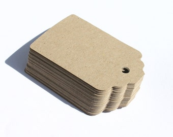 30 Large Kraft Tags  Die Cut- Double Sided Cardstock Wish Tags, Escort Cards, Gift Tag, Note Card