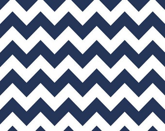 Navy Blue Medium Chevron Cotton Fabric by Riley Blake Fabric