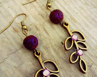Ready to ship! Antique Brass Olive branch and purple lava stone diffuser earrings for Essential Oils Young Living Doterra gift for her