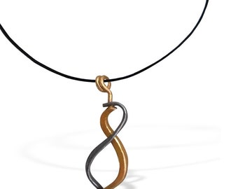 Elegant Gold Infinity Pendant for Women, Handcrafted Kinetic Necklace, Special Gift  for Women, BFF Minimal Pendant for Her, Unique Design