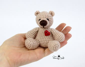 Miniature bear with heart Valentines gift for her Girlfriend gift Tiny teddy bear Plush bear Stuffed bear Stuffed animal Woodland animal