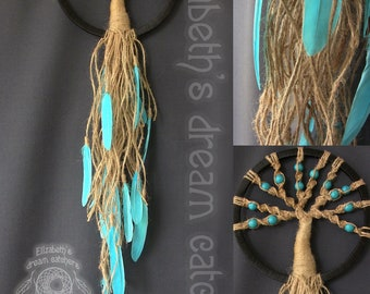 Dream catcher Dreamcatcher DreamCatcher Wall Tree Of Life Mint dreamcatcher Boho style Blue feathers Dreamcatcher Gift wall hanging