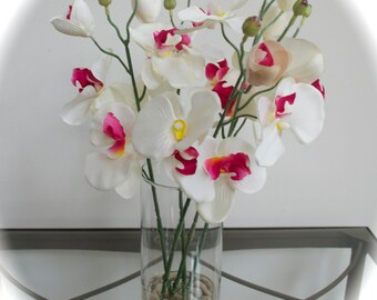 Japanese White & Pink Orchid Faux Flower Arrangement in Glass Vase with Rocks and Acrylic Water, Feng Shui, Hawaiian Flowers