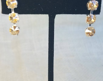 Golden Shadow Swarovski Cupchain Earrings--3 stones