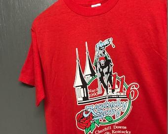 M nos vintage 1990 Churchill Downs Kentucky Derby horse race t shirt