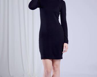 Black Dress/Little Black Dress/Pencil Dress/Party Dress/Knit dress/Fit and flared dress/Warm dress/Sexy black dress/Goth dress/Boho Dress