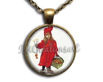 Carl Larsson's Apple Girl Glass Dome Pendant or with Chain Link Necklace  AP121
