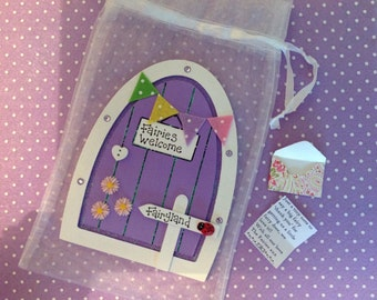 Fairy door, purple, bunting and daisies, can be personalised, contains a tiny letter from the fairies, ideal for the tooth fairy