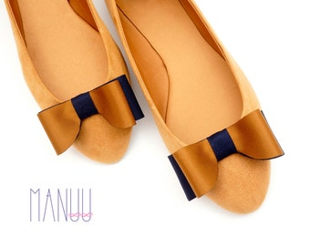 Navy caramel bows - shoe clips Manuu, two-tone shoe clips, two-tone bows