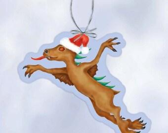 Festive Flying Chupacabra Cryptozoology paper ornament
