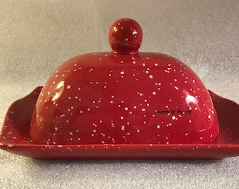 Stoneware Red Speckleware Covered Butter Dish