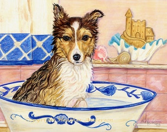 "Shetland Sheepdog sable Pup, ""Water Baby"",  original 8 x 10 painting,  colored pencil over watercolor, Heather Anderson dog artist"