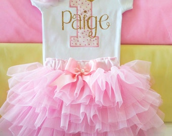 First Birthday Outfit Girl Baby Girl 1st Birthday Outfit 1st Birthday Girl Outfit Pink Gold Smash Cake Outfit Personalized Birthday Dress