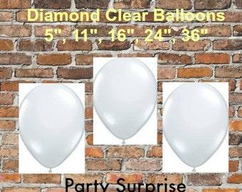"Clear Balloons 5"" 11"" 16"" 36"", Wedding Balloons, Confetti Balloons,Shower Balloons, Photo Balloons, New Year's Eve Balloons"