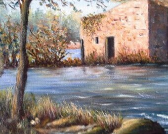 Old Mill River d Adaufe, painting, painting oil on canvas, figurative art, Portugal landscape, home decor, gift