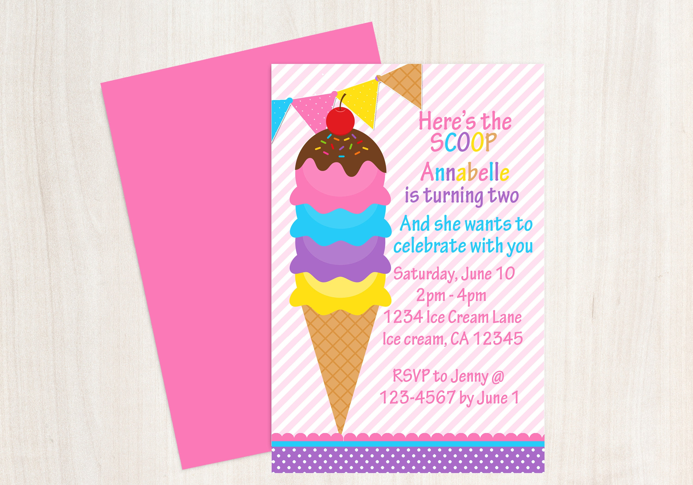 Girl Ice Cream Birthday Party Invitation Ice Cream Party