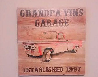 Customized Garage Plaque Sign - Father's Day Gift - Wooden Plaque Garage Sign - Shop Plaque - Personalized Garage Sign - Classic Car Sign