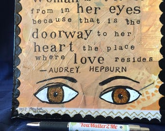 Mixed Media Collage - Audrey Hepburn Quote on the Beauty of a Woman