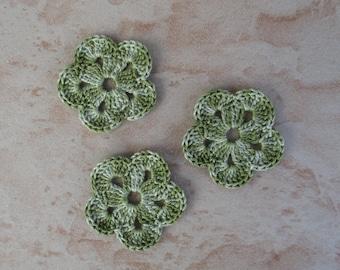 set of 3 avocado green flower 5 petals crochet