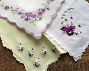 3 Vintage Hankies~Pansies & Lily-of-the-Valley~Hanky Lot~Embroidered~Scalloped Edges~Cottage~Yellow Purple Pansy