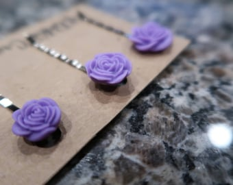 Lavender Bobby Pin Set - 3 Flower Bobby Pins