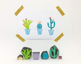Cactus stamps, bullet journal stamps, handmade stamps, wedding stamps, potted plant stamps, lot of 6