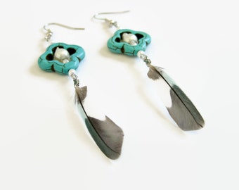 Earrings turquoise, black and white minimalist Parrot feathers