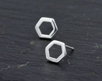 Sterling Silver Open Hexagon Stud Earrings, Minimalist and Geometric Design T53