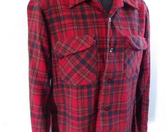 Vintage 1950s Pendleton red wool flannel Shirt Jacket with collar loop