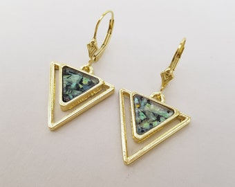 Gold Art Deco Opal Earrings, Rainbow Green Opal, Gold Earrings, Geometric Earrings, Triangle Earrings, Gold Filled Lever Back Wires