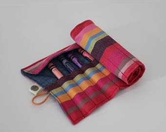 Striped Kikoy Fabric Crayon Roll, Crayon Organizer, Take-along Crayons