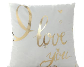 I Love You Pillow Cover, Gold Foil Pillow Cover, Gold Pillow Case, Home Decor, Throw Pillow Cover, Quote Pillow