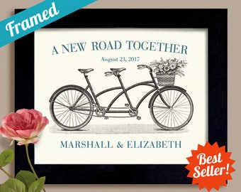 Unique Engagement Gift, Custom Wedding Gift Framed, Wedding Decor Gift for Couples Wedding Present Bicycle for Two Bridal Shower Bride Groom