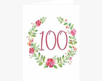 Pretty 100th Birthday Card, Flower Wreath Birthday Card, Pink, Green, Birthday Card for Mom, Card for her, Card for Grandmother