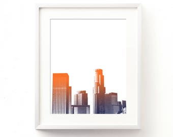 Los Angeles download, LA digital print, LA skyline illustration, ombre, orange, blue, downtown city print, jpg files, California art