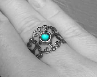 Adjustable Ring, Medieval Jewelry, Womens Teal Gothic Design, Ornate Scrollwork, Metal Cutout