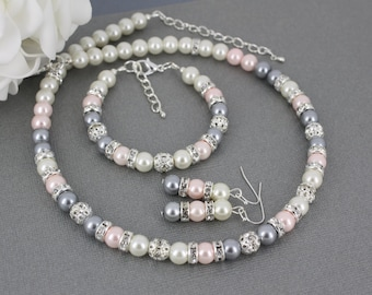 Pink and Grey Necklace Jewelry Set Bridesmaids Jewelry Bridesmaids Gift Wedding Jewelry Maid of Honor Gift Gift for Her