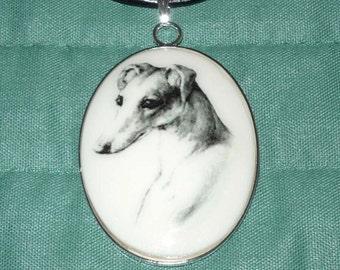 Vintage Alt Art Pencil Portrait Greyhound or Whippet Cameo Pendant Necklace