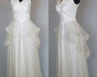 1930s Wedding Dress Vintage 30s Dress 30s Bridal Gown Net Lace & Satin