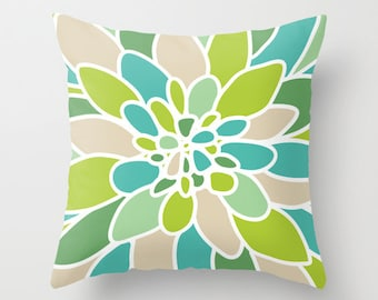 Modern Abstract Flower pillow with insert Cover - Green Teal Turquoise Blue Tan - Modern Home Decor - By Aldari Home