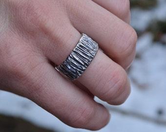 Tree Bark Ring, Textured Band, Textured Band Ring, Silver Band Ring, Sterling Silver, Sterling Silver Wide Band, Wide Band Ring, Unisex Ring